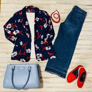 Red White and Blue Floral Jacket